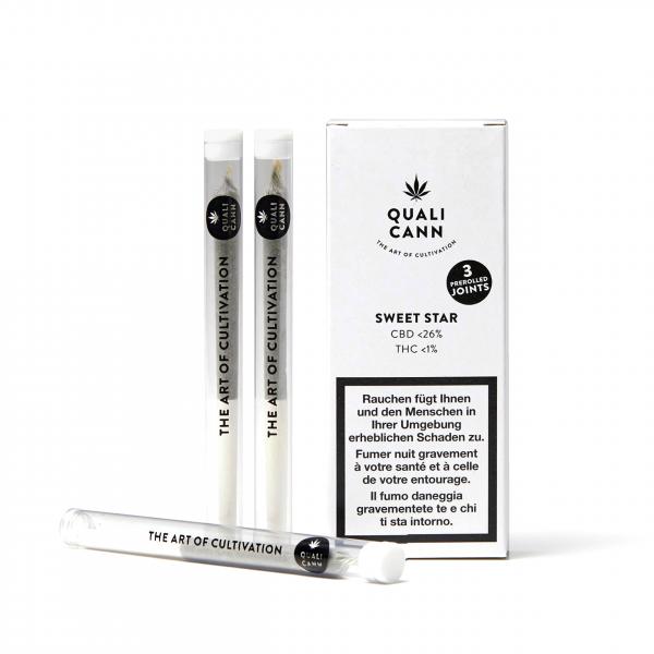 Qualicann - Prerolled CBD Joints - Sweet Star - 3 Stück
